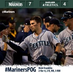 #Mariners plate 5 in the 8th, propelling them to a 7-4 victory over the A's. 8/20/13
