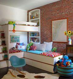 lindo quarto de criança parede de tijolinhos