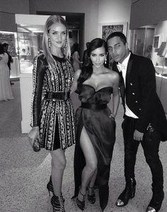 Kim Kardashian, Rosie Huntington-Whiteley & Oliver Rousteing