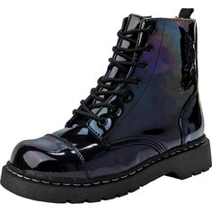 Iridescent Black Vegan Combat Boots | T.U.K. Shoes ($95) ❤ liked on Polyvore featuring shoes, boots, ankle booties, black combat boots, combat boots, black army boots, shiny black boots and faux leather booties