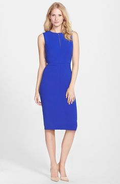 Clove Back Cutout Midi Sheath Dress (Regular & Petite) (Nordstrom Exclusive) available at #Nordstrom
