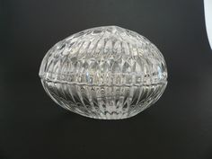 by BlueTortoiseVintage on Etsy Crystal Egg, Flower Frog, Egg Shape, Clear Glass, Conditioner, Eggs, Ceiling Lights, Shapes, Dishes