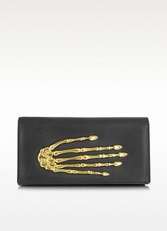 Black Nappa Leather Pochette w/Skeleton Hand - Bernard Delettrez