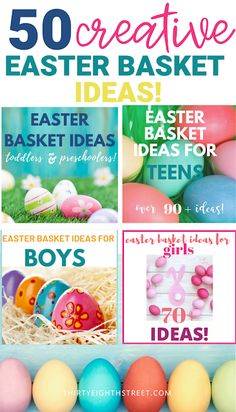 The best Easter Egg Filler Ideas! Creative and unique easter egg stuffers without candy! These Easter egg fillers will be the hit of the Easter Egg hunt! Easter Baskets To Make, Easter Gifts For Kids, Easter Crafts, Crafts For Kids, Kids Diy, Easter Egg Stuffers, Easter Eggs, Basket Ideas, Candy