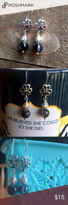 Handmade Black and Silver Gemstone Earrings Handmade natural Black Rutilated Quartz gemstone earrings. Earrings are Nickel Free featuring an 8mm gemstone and silver bead. Handmade Jewelry Earrings