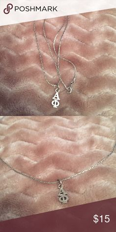Alpha Phi Lavalier Silver lavalier drop. Perfect condition. Worn once. Jewelry Necklaces