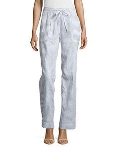 Straight-Leg Stripe Pants, Black Multi by Laundry by Shelli Segal at Neiman Marcus Last Call.