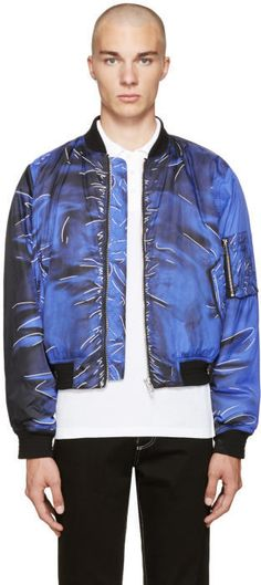 a233704d30266 Moschino Blue Drawing Bomber Jacket