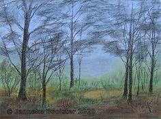 Boswandeling / A walk in the woods - mixed media Walk In The Woods, Burnt Orange, Cobalt Blue, Driftwood, Slate, Watercolour, Pine, Indigo, Charcoal