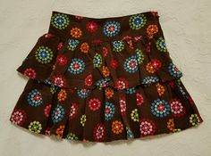 Gymboree WINTER CHEER Corduroy Circle Dot Tiered Skirt Brown EUC size 7 #Gymboree #Everyday