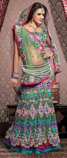 #Green Net Flared #Lehenga Choli with Dupatta @ $351.91   Shop @ http://www.utsavfashion.com/store/sarees-large.aspx?icode=lhs1b