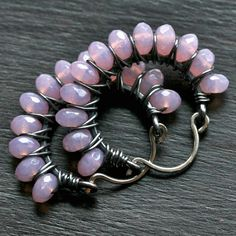 Handmade wire wrapped hoops lilac pink Czech glass by MimiMicheleJewelry, $34.50
