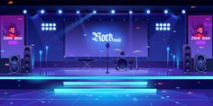 Buy Stage with Rock Music Instruments and Equipment by vectorpouch on GraphicRiver. Stage with rock music instruments, popular singer banners, equipment and illumination, empty scene interior with drum. Episode Interactive Backgrounds, Episode Backgrounds, Anime Backgrounds Wallpapers, Anime Scenery Wallpaper, Stage Background, New Background Images, Cartoon Background, Vector Background, Chibi Base Couple
