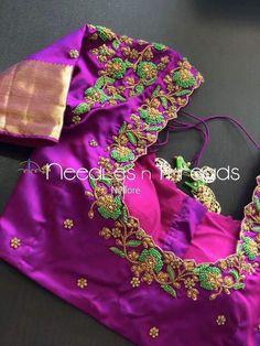 HappyShappy - India's Own Social Commerce Platform Wedding Saree Blouse Designs, Silk Saree Blouse Designs, Blouse Neck Designs, Hand Work Blouse Design, Simple Blouse Designs, Maggam Work Designs, Designer Blouse Patterns, Hand Designs, Blouse Desings
