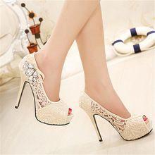 2016 NEW European Brand Señoras Encaje Sexy Rhinestone Zapatos de La Boda Plataforma de Los Tacones Altos Bombas de las mujeres sapatos femininos 35-41(China)