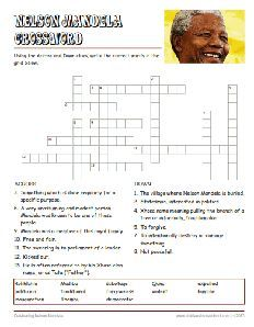 Free Nelson Mandela Worksheets, Crossword Puzzle