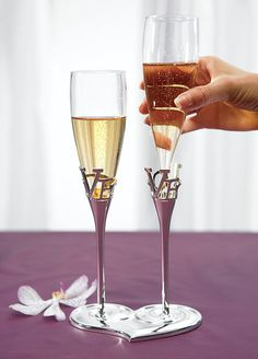 Silver Plated Love Stem Champagne Holder and Toasting Glass Wedding Flutes  Two loves join tog