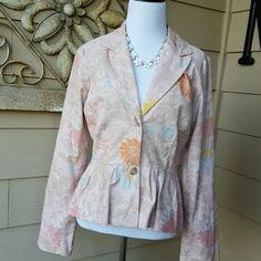 """VINTAGE Anthropologie by FEI From 2004 anthropologie collection, beautiful light pink light corduroy jacket with peplum style waistline, shoulder are 16"""" across and from pit to pit is 19"""".  22"""" long. No trades. Anthropologie Jackets & Coats Blazers"""