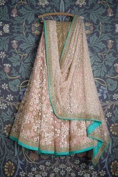 SMF LEH 240 17 | Princess pink floral threadwork lehenga with matching threadwork dupatta and gold sequin blouse