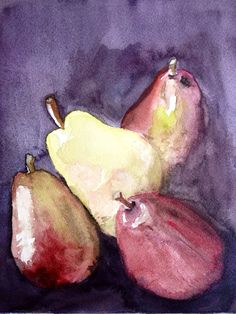 Original 8x10 watercolor painting Fall Pears by BoxSet on Etsy, $49.00