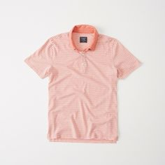 Abercrombie & Fitch Striped Jersey Polo (€35) ❤ liked on Polyvore featuring men's fashion, men's clothing, men's shirts, men's polos, orange stripe, mens jersey shirts, mens striped polo shirts, mens striped shirt, mens orange polo shirt and mens jersey polo shirts