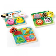 Save money when you buy this Special Offer which includes three Touch and Feel Wooden Puzzles - Farm, Safari and Bugs. Each puzzle has four chunky pieces which lift out to reveal different textured surfaces.