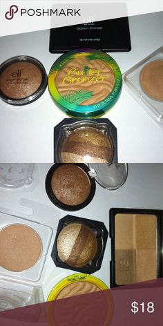 Mixed Bronzing Bundle All new, slightly swatched and clean. 1 physicians butter bronzer light, 1 ELF golden bronzer, 1 ELF los cabos, 1 Stila shadow trio gold glow (refill) 1 Becca blush wisp (refill) Makeup Bronzer