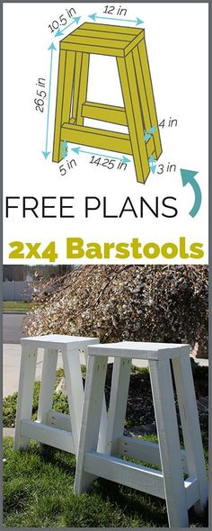 Build a simple barstool using only 2x4s. Step by step tutorial with printable plans!