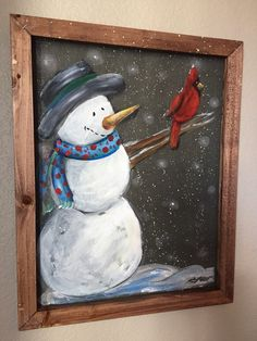 Snowman holding a cardinal, recycled, window screen, screen art At 16 x 20 inches this beautiful art Noel Christmas, Christmas Signs, Christmas Projects, Holiday Crafts, Christmas Decorations, Xmas, Painted Window Screens, Window Art, Christmas Drawing