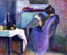 Henri Matisse - Reading Woman in Violet Dress (1898)
