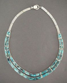 "Necklace | Earl Plummer (Navajo). ""Water design"". Sterling silver with inlaid natural turquoise"