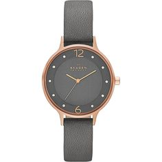 Skagen Anita Womens Leather Watch Women's ($125) ❤ liked on Polyvore featuring jewelry, watches, fashion accessories, grey, grey jewelry, gray watches, water resistant watches, leather watches and skagen watches