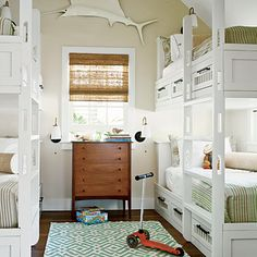 Beach-Friendly Bunkroom - 20 Beautiful Beach Cottages - Coastal Living