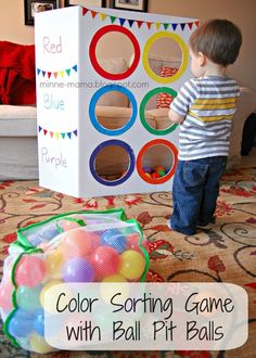 Don't let your kids get bored with their ball pit! Check out this list of ways that kids can keep learning and having fun with this toy! These ball pit ideas will keep your kids excited for a long time! Carnival Activities, Diy Carnival Games, Color Activities, Indoor Activities, Infant Activities, Preschool Activities, Children Activities, Preschool Circus, Diy Games