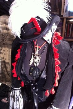 Retro G Couture steampunk Top Hat and lace ruffle gothic lolita tassel Bustle Jacket Dolly kei goth dandy avant Garde dandy alternative Magician Victorian Lady Burlesque Dancer Circus Ringmaster Women's Fashion Style Aristocrat visual kei