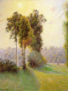 withinandbeyond:    Camille Pissarro : Sunset at St. Charles Eragny : 1891