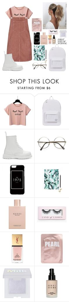 """""""School"""" by beautyguru-secrets ❤ liked on Polyvore featuring Topshop, Herschel Supply Co., Dr. Martens, Love Couture, Nikki Strange, Gucci, Boohoo, Yves Saint Laurent, Lapcos and Bobbi Brown Cosmetics"""
