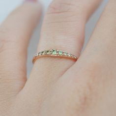 demantoid ring, pave ring, thin gold ring, thin pave ring, micropave ring, demantoid garnet jewelry, demantoid garnet ring Garnet Jewelry, Garnet Rings, Thin Gold Rings, Pave Ring, Wedding Rings, Bright, Engagement Rings, Unique Jewelry, Handmade Gifts