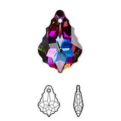 Drop, Swarovski crystal electra, 22x15mm faceted baroque pendant (6090). pkg of 48. Peacock Bathroom