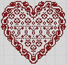 Coeur... ... Wedding Cross Stitch Patterns, Counted Cross Stitch Patterns, Cross Stitch Designs, Cross Stitch Heart, Cross Stitch Samplers, Cross Stitching, Embroidery Hearts, Cross Stitch Embroidery, Needlepoint Patterns