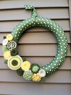 Easter Wreath - Green & White Polka Dot Ribbon Decorated with Felt Flowers. Easter Wreath - Spring Wreath - Ribbon Wreath. $42.00, via Etsy.