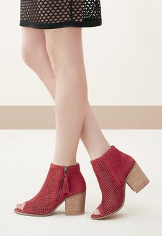 Perforated suede peep toe booties   Sole Society Dallas