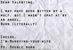 Love, your ex-parabatai ... Hahaha love this!! Luke Garroway and Valentine Morgenstern TMI The Mortal Instruments