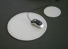 SILVER  GLITTER & BLING Mousepad/Coaster Set  by LaurieBCreations, $13.00