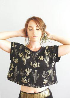 Golden Cactus Box Crop Top Cropped tshirt by Simka by SimkaSol