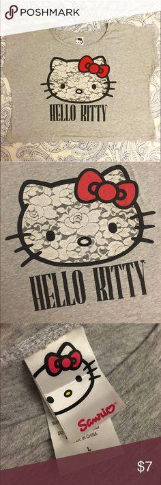 Hello Kitty Crop Tee Hello Kitty Crop Top T-Shirt. Large. Used. Hello Kitty Tops Crop Tops