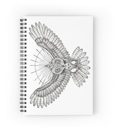 Mason owl  by #beatrizxe | #Redbubble. Spiral Notebook – Tattoo design inspired in masonic secret society. It's an owl with a skull on the chest (formed by white feathers). In the animal's head is placed a compass with a rule and within it there is an eye (the eye that sees everything). #Freemasonry #freemason #freemasone #mason #masonic #owl #animal #skull #feather #compass #rule #eye #halo #ray #golden #ray #tattoo #ink #illustration #artwork #art #drawing #draw #tattooStyle,