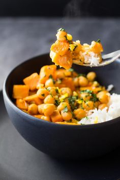 A quick and easy, soy-free, gluten-free, Thai Vegan Sweet Potato and Chickpea Curry for a meatless Monday full of flavor and nutrition! by tonya Healthy Eating Recipes, Vegan Recipes Easy, Veggie Recipes, Healthy Cooking, Indian Food Recipes, Vegetarian Recipes, Cooking Recipes, Vegan Meals, Dinner Recipes