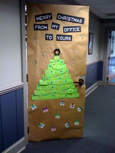 christmas decorated office door a few years ago done completely with office supplies paper
