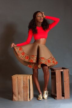 Its African inspired.love love love this skirt. ~Latest African Fashion, African Prints, African fashion styles, African clothing, Nigerian style, Ghanaian fashion, African women dresses, African Bags, African shoes, Nigerian fashion, Ankara, Kitenge, Aso okè, Kenté, brocade. ~DK